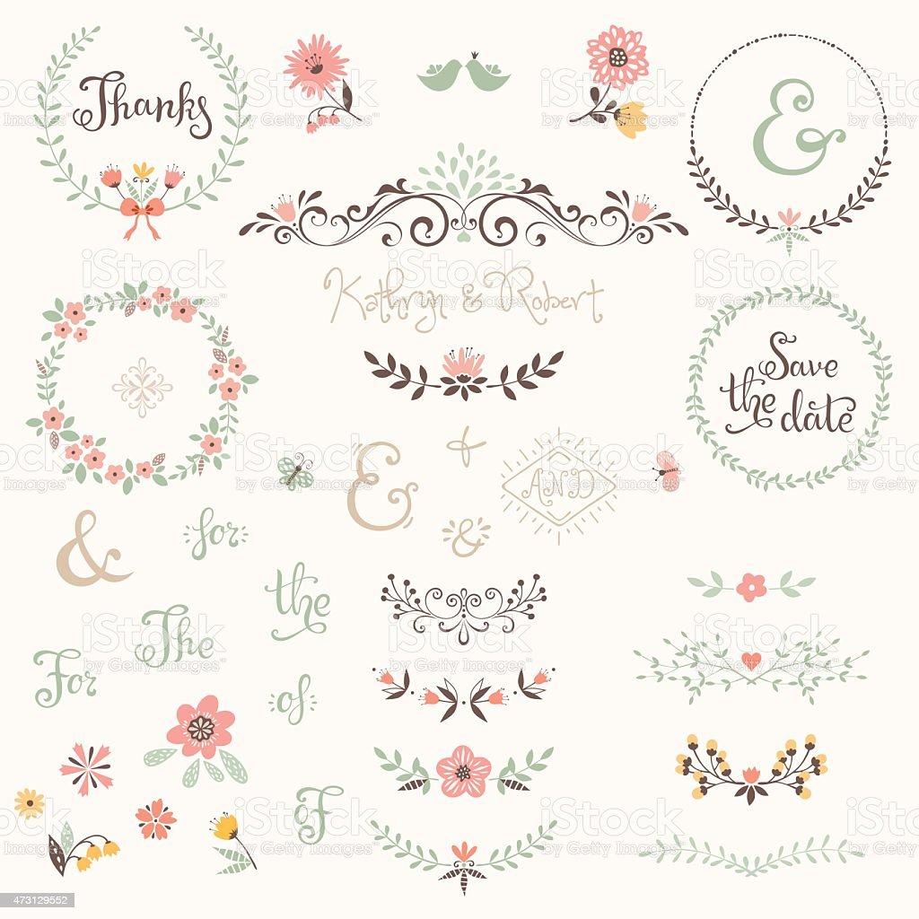 Wedding Graphic Set vector art illustration