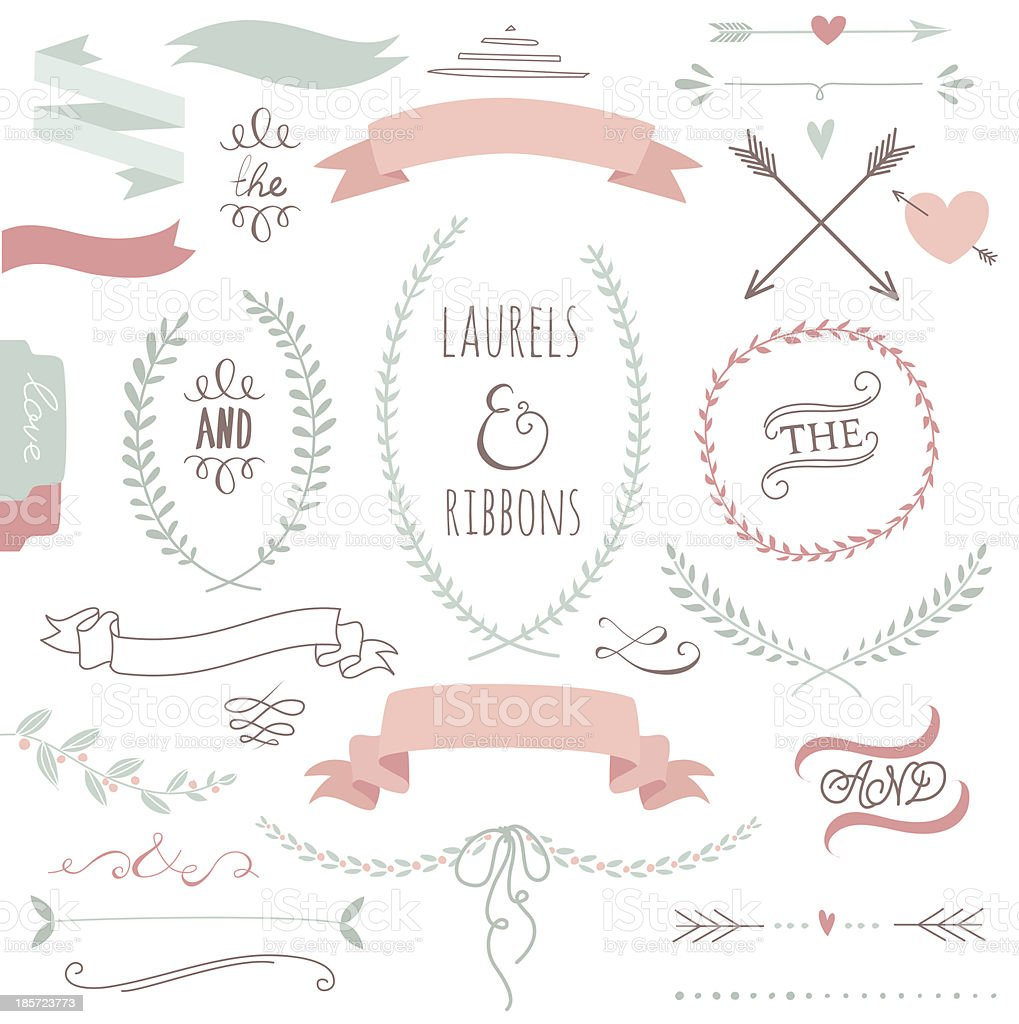 Wedding graphic set with ribbons and wreaths vector art illustration