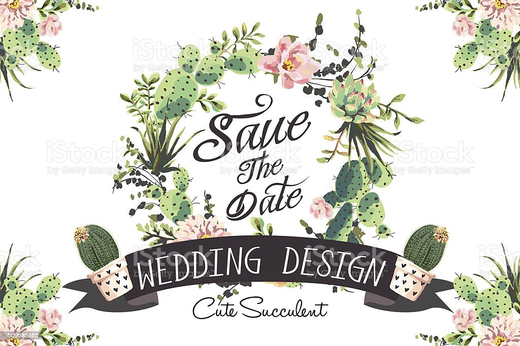 Wedding graphic set with succulents vector art illustration