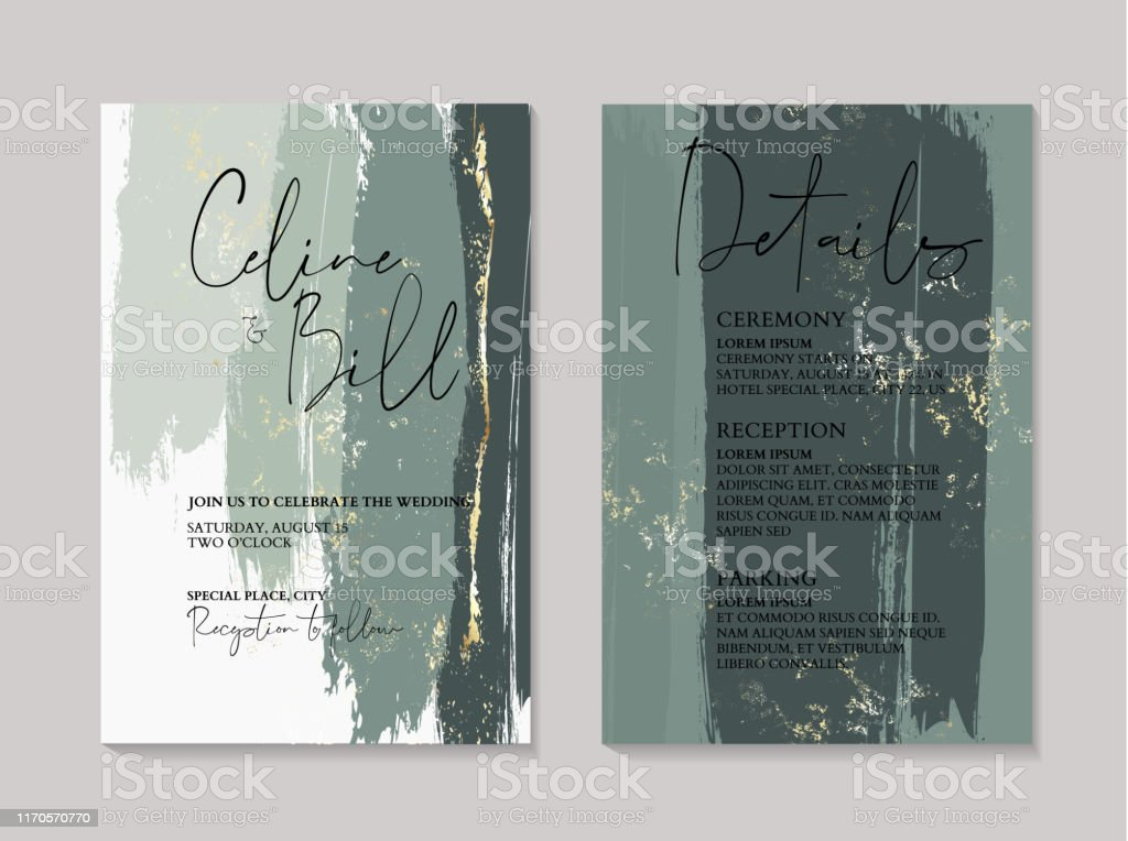 Wedding Green Luxury Invitation Cards With Gold Marble