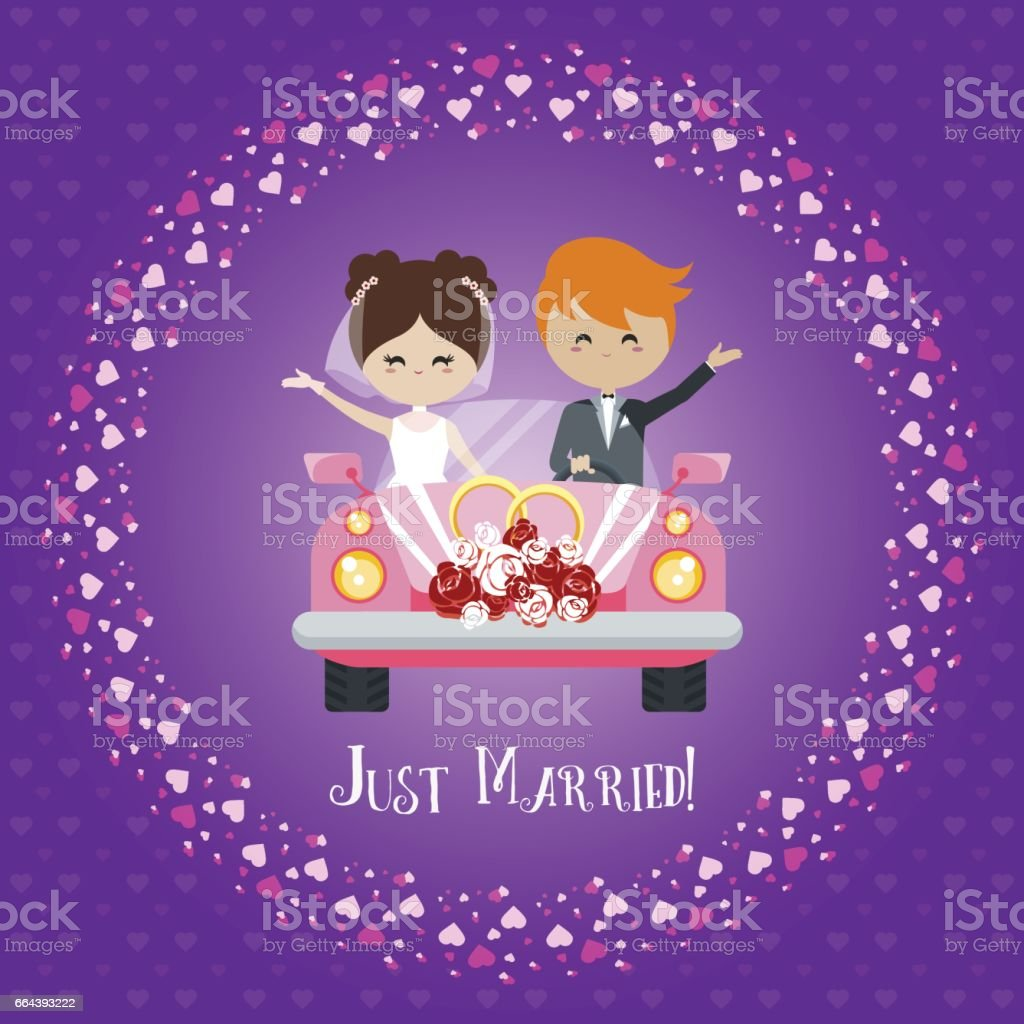 Wedding Greeting Card Bride And Groom Ride In The Car Royalty Free Stock Vector