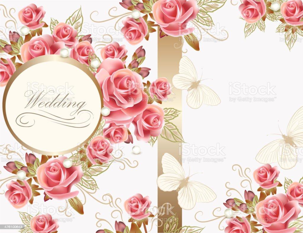 Biglietto Di Auguri Di Matrimonio Con Rose Design Immagini