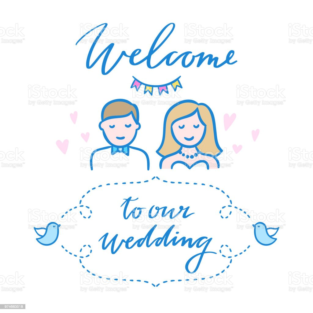 Wedding Greeting Card Illustration Welcome To Our Wedding Invitation