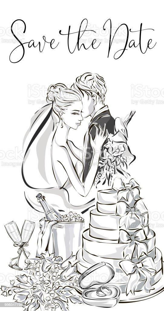 Hochzeit Grusskarte Mit Braut Und Brautigam Hochzeitstorte Champagner