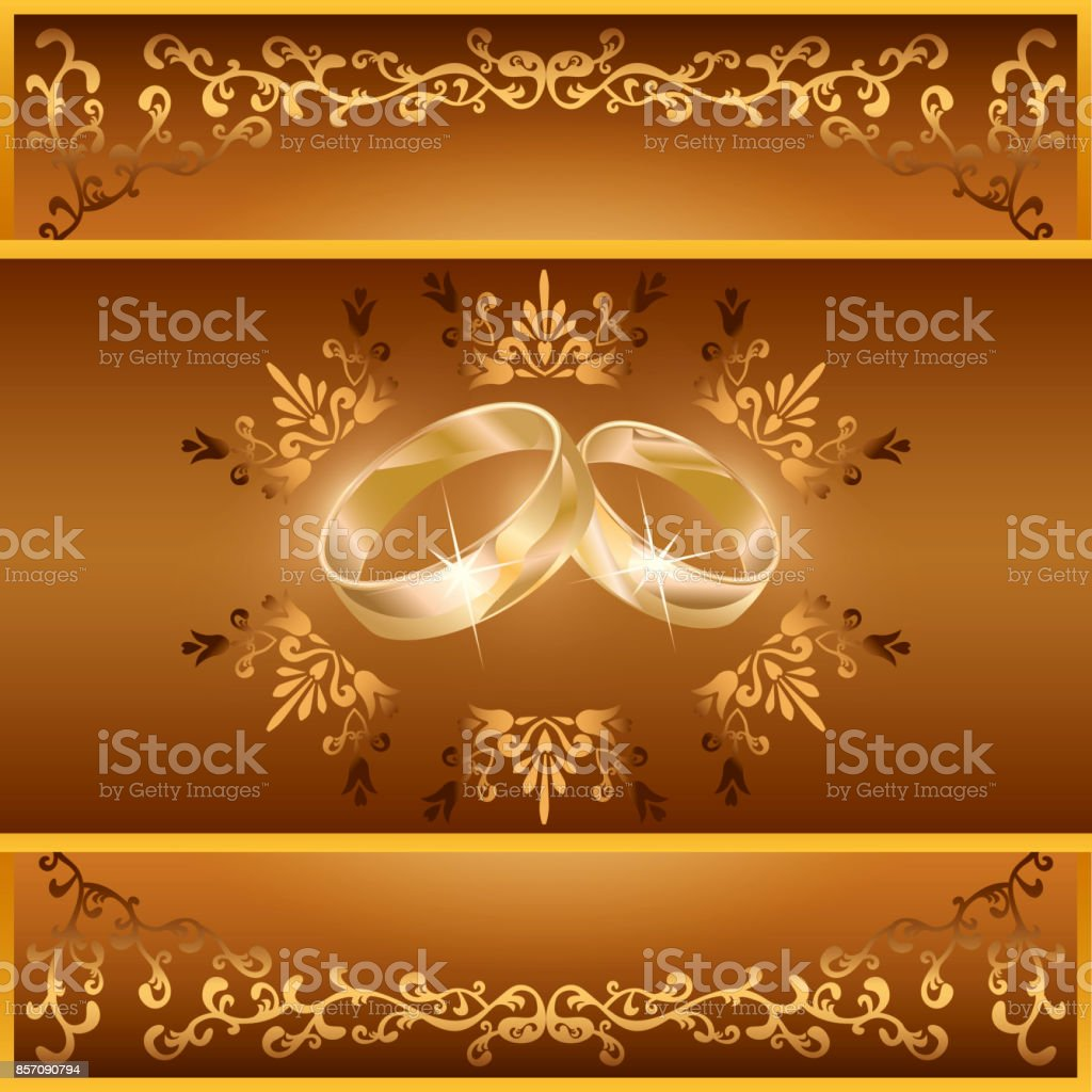 Wedding greeting or invitation card with rings arte vetorial de wedding greeting or invitation card with rings wedding greeting or invitation card with rings arte stopboris Choice Image