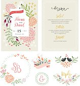 Hand drawing wedding typographic cards with birds, flowers, branches and floral wreath. Save the Date and Menu design. Vector illustration.