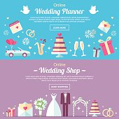 Vector header and banner design templates. For online wedding shop, wedding planner or other wedding services. Flat style.
