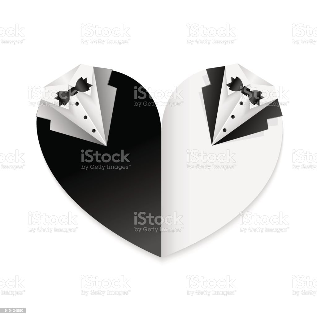 Wedding heart card decoration black and white combination - gay couple vector art illustration