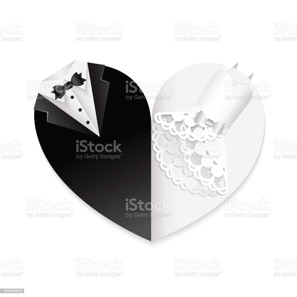 Wedding heart card paper cut decoration black white combination vector art illustration