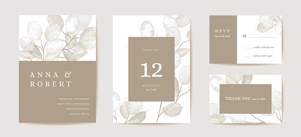 Wedding honesty flower invitation card, vintage botanical Save the Date set. Design template of lunaria, flowers and leaves, blossom illustration. Vector trendy cover, pastel graphic poster, brochure