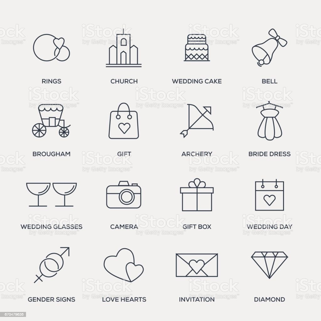 Wedding Icon Set - Line Series vector art illustration