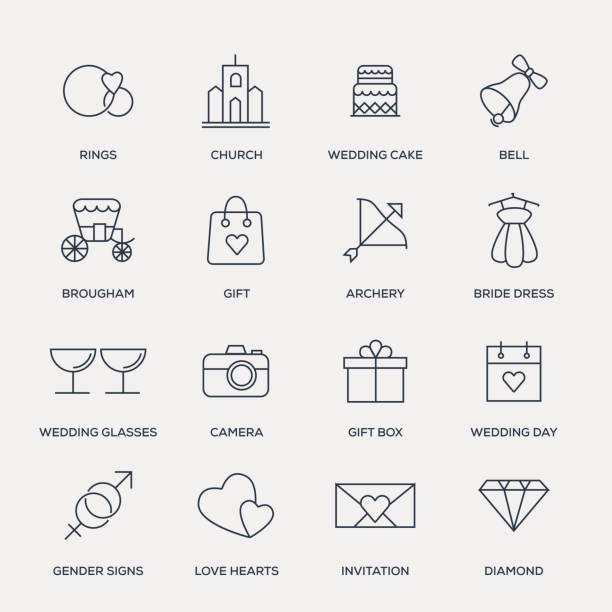 hochzeit-icon-set - line serie - kirchenschmuck stock-grafiken, -clipart, -cartoons und -symbole