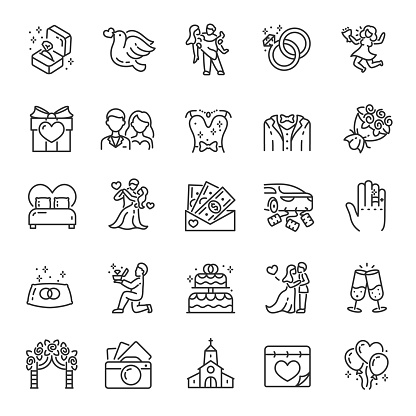 Wedding, icon set. Marriage, linear icons. Make an offer. Line. Editable stroke