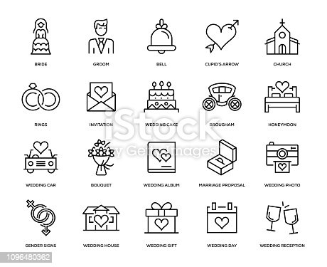 Wedding Icon Set - Thin Line Series
