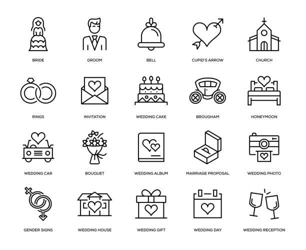 hochzeit-icon-set - kirchenschmuck stock-grafiken, -clipart, -cartoons und -symbole