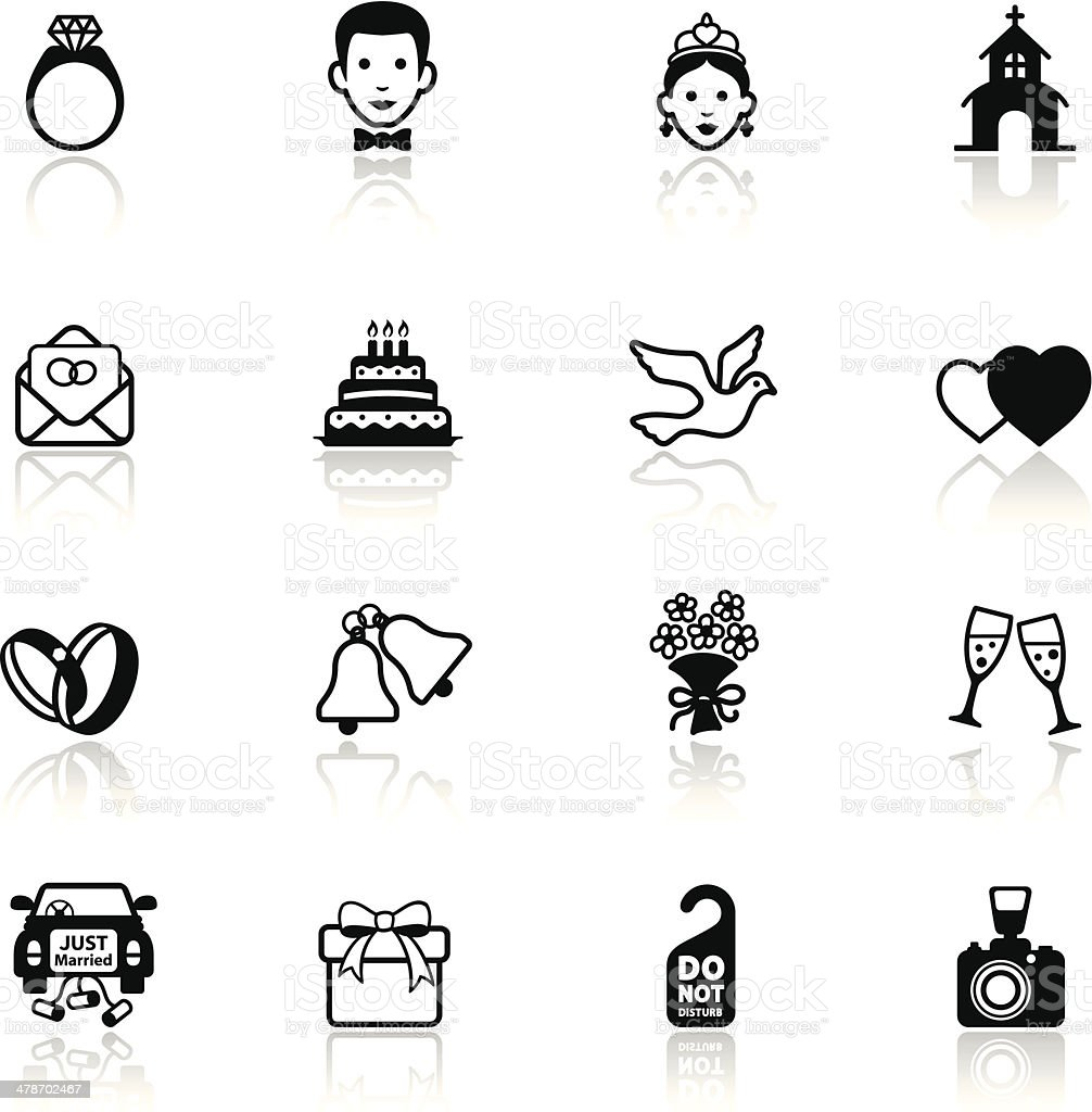 Wedding Icon Set vector art illustration