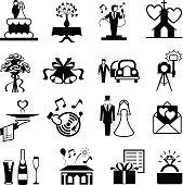 Wedding day service and reception symbols