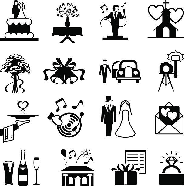 wedding icon set - wedding photographer stock illustrations