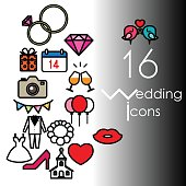 16 wedding icon set. Vector illustration