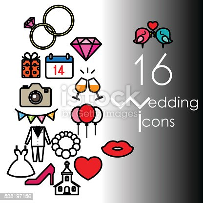 16 wedding icon set. Vector illustration