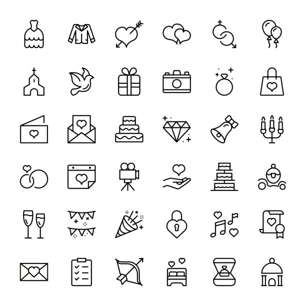 wedding icon set. - birds calendar stock illustrations, clip art, cartoons, & icons