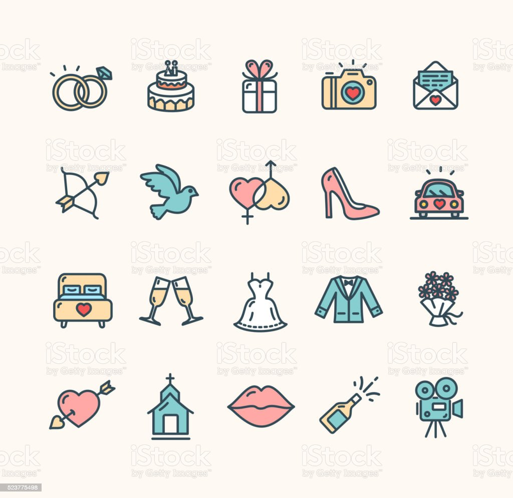 Wedding Icon Set. Vector vector art illustration