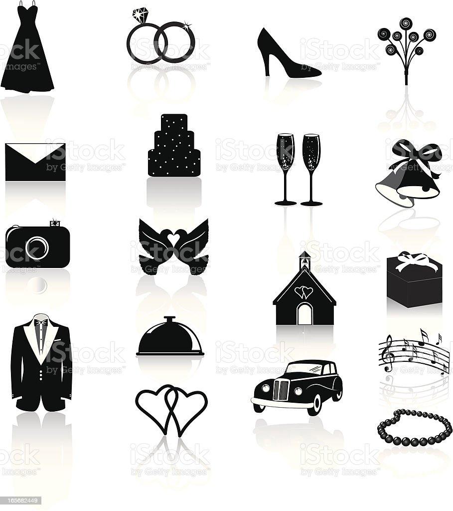 Wedding Icons: Black on White vector art illustration