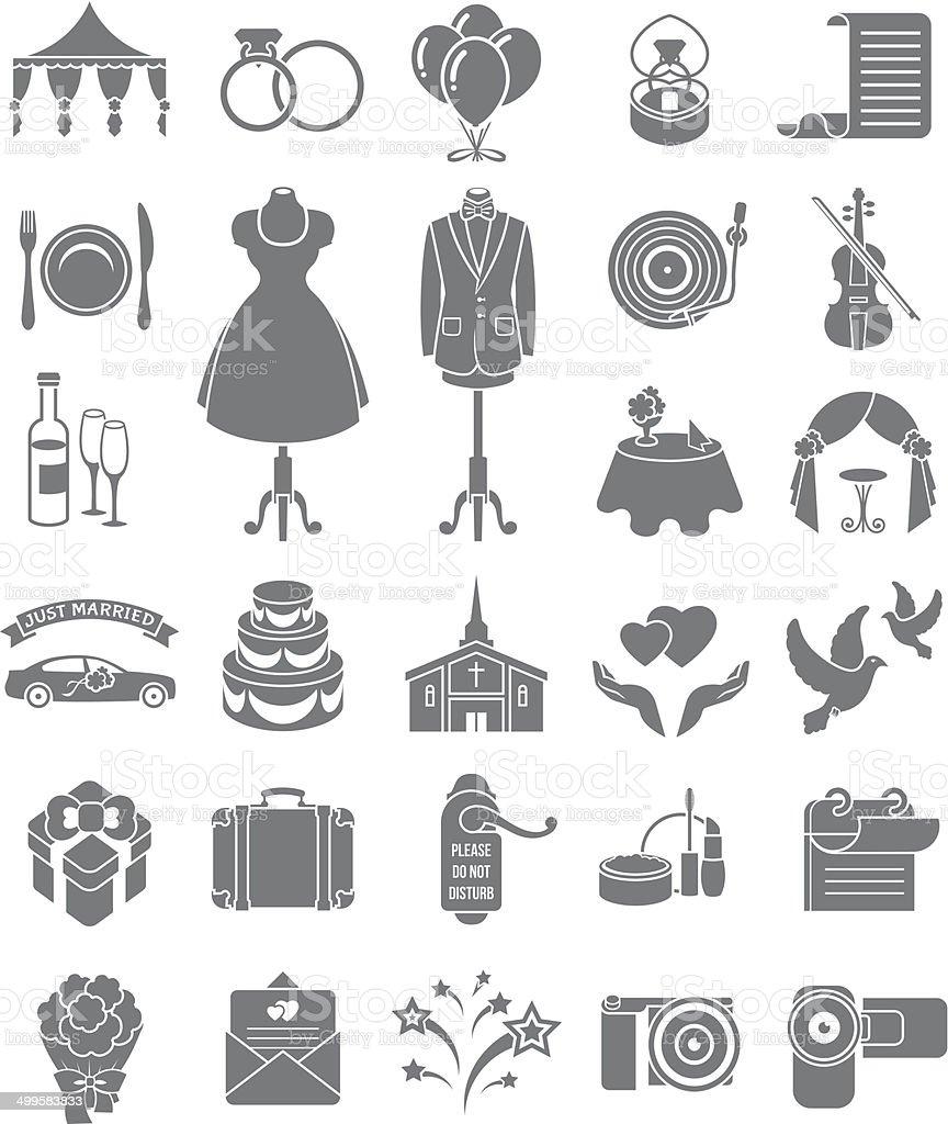 Wedding Icons Dark Silhouettes vector art illustration