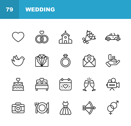 Wedding Icons. Editable Stroke. Pixel Perfect. For Mobile and Web. Contains such icons as Wedding, Heart, Love, Dove, Tuxedo, Wedding Dress, Champagne, Engagement Ring, Camera, Photography, Church.