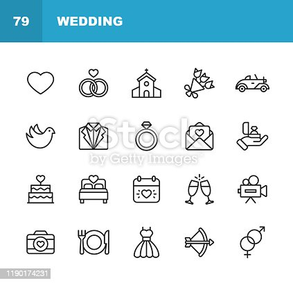 20 Wedding Outline Icons.