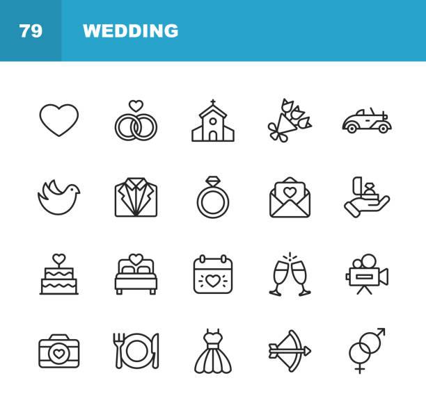stockillustraties, clipart, cartoons en iconen met bruiloft pictogrammen. bewerkbare lijn. pixel perfect. voor mobiel en internet. bevat dergelijke iconen zoals bruiloft, hart, liefde, duif, tuxedo, trouwjurk, champagne, verlovings ring, camera, fotografie, kerk. - bruiloft