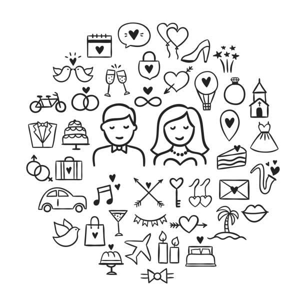 hochzeit symbole hand gezeichneten umriss satz. niedlich hochzeit symbole und abbildungen mit braut, bräutigam, reisen flitterwochen und andere liebe ikonen - kirchenschmuck stock-grafiken, -clipart, -cartoons und -symbole