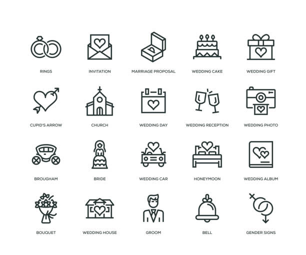 wedding icons - line series - marriage stock illustrations