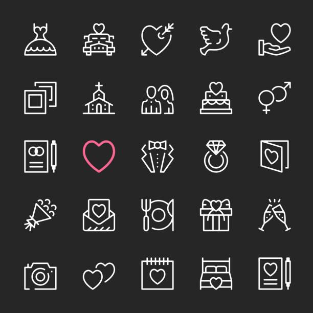 hochzeit-symbole. moderne, linearhub, dünne linie, umriss stil konzepte. vektor-linie icons set - kirchenschmuck stock-grafiken, -clipart, -cartoons und -symbole