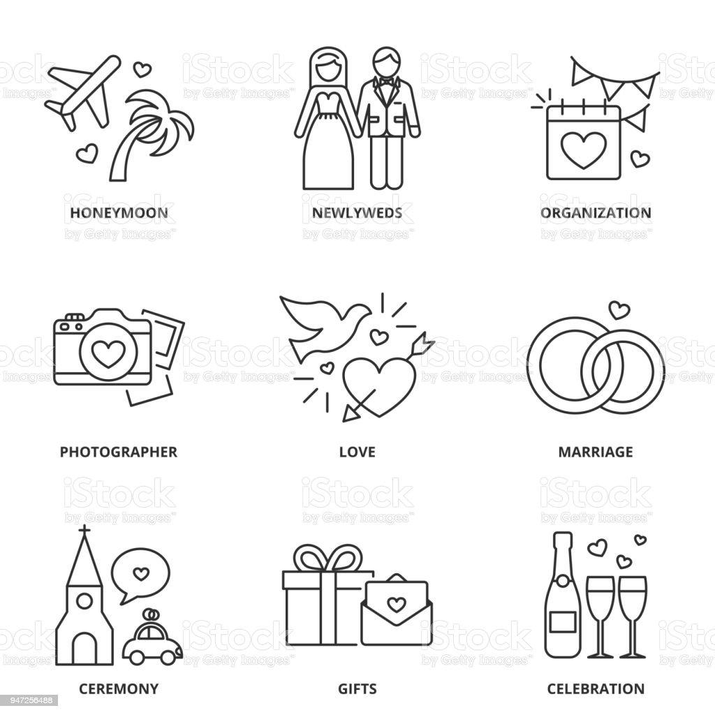Conjunto de ícones do casamento: lua de mel, recém casados, organização, fotógrafo, amor, casamento, cerimônia, presentes, celebração - ilustração de arte em vetor