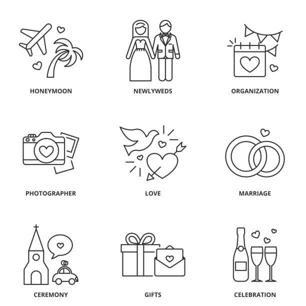 bildbanksillustrationer, clip art samt tecknat material och ikoner med bröllop ikoner set: smekmånad, nygifta, organisation, fotograf, kärlek, äktenskap, ceremoni, gåvor, firande - smekmånad