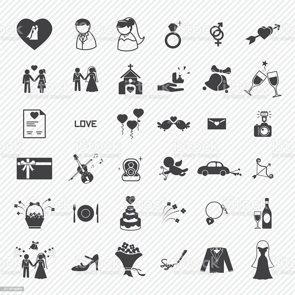 Wedding icons set. illustration eps10 vector art illustration