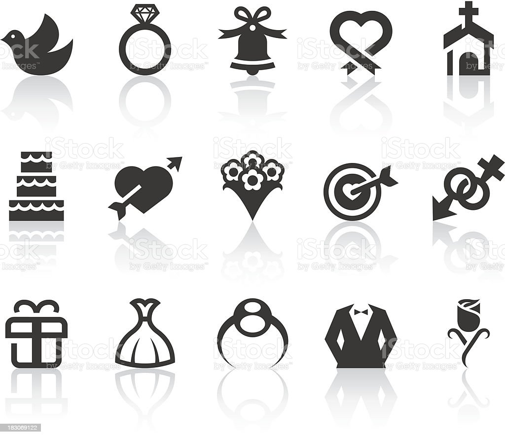 Wedding Icons | Simple Black Series vector art illustration