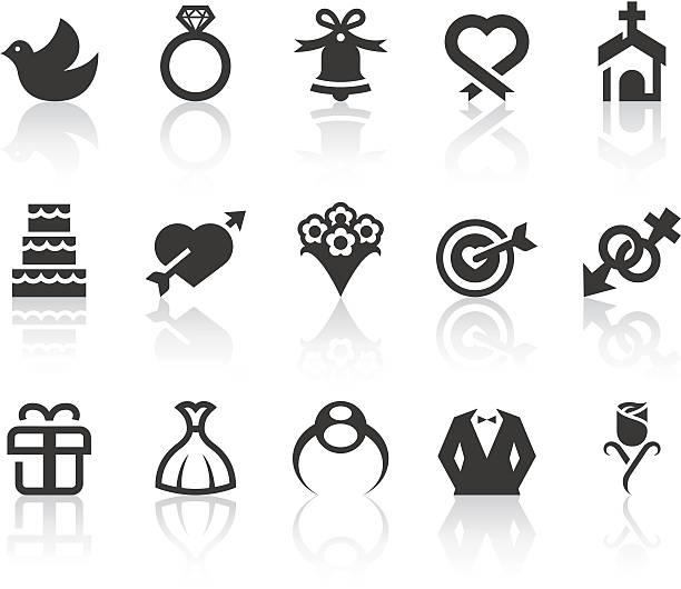 hochzeit symbole/einfache schwarz-serie - kirchenschmuck stock-grafiken, -clipart, -cartoons und -symbole