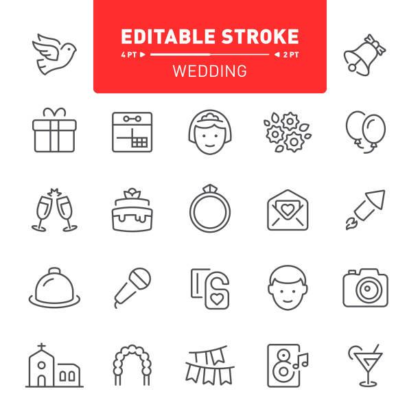 wedding icons - wedding stock illustrations, clip art, cartoons, & icons