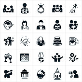 A set of black wedding icons. The icons include couples getting married, a bride, groom, wedding ring, wedding ceremony, champagne, hair and makeup, pastor, couple, dancing, DJ, wedding cake, invitation, toast, calendar, rose, flowers, singing, gazebo, chocolate strawberry, church and photographer to name just a few.