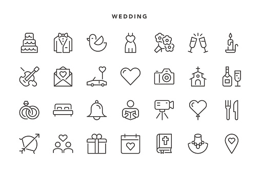 Wedding Icons - Vector EPS 10 File, Pixel Perfect 28 Icons.