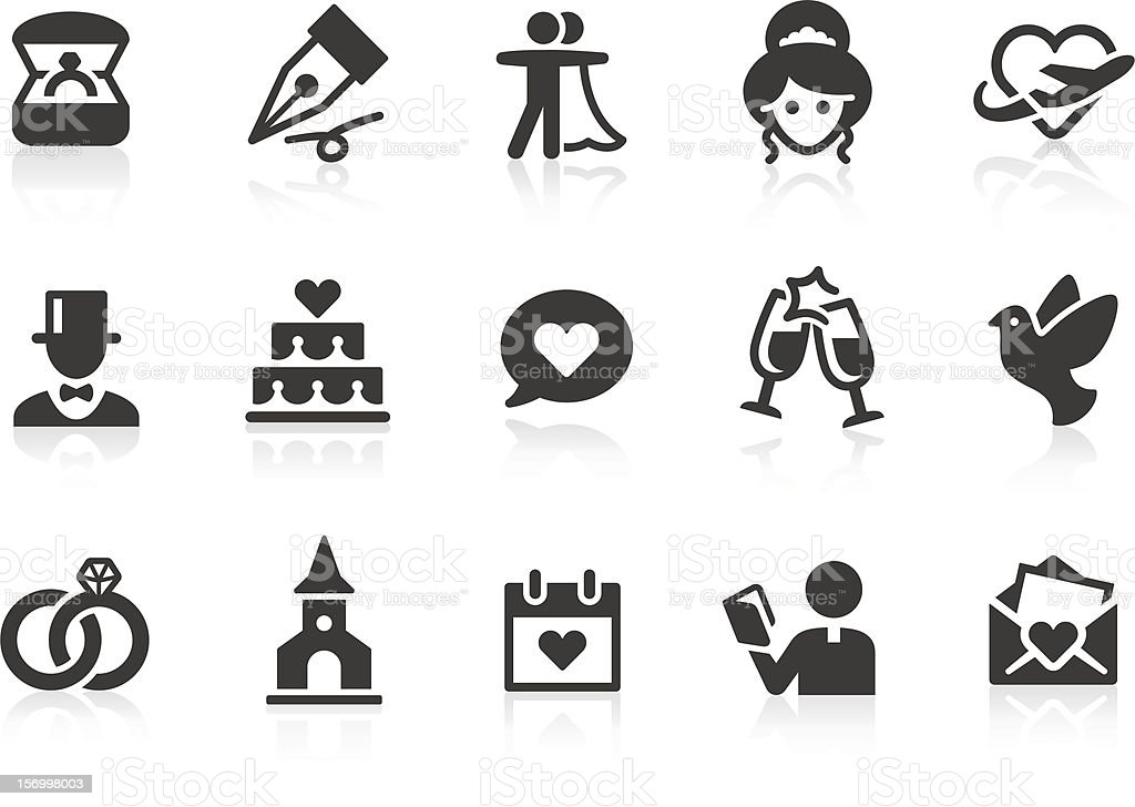 Wedding icons vector art illustration