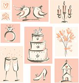 Hand-drawn style wedding related icons. Zip contains AI and PDF format.
