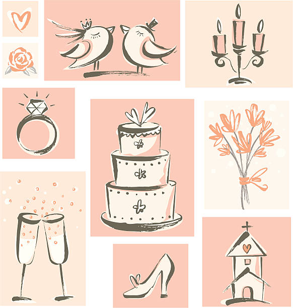 Wedding Icons Hand-drawn style wedding related icons. Zip contains AI and PDF format. wedding cake stock illustrations