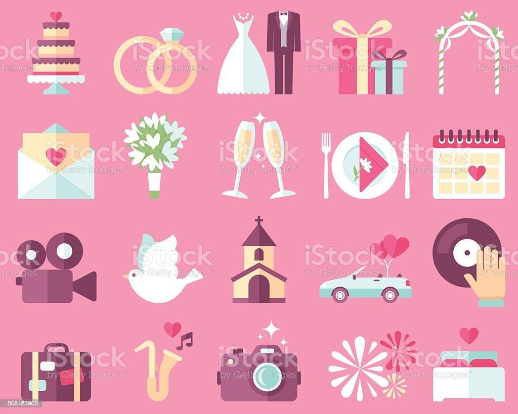 Icônes de mariage - Illustration vectorielle