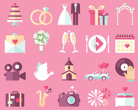 Wedding Icons Stock Illustration - Download Image Now
