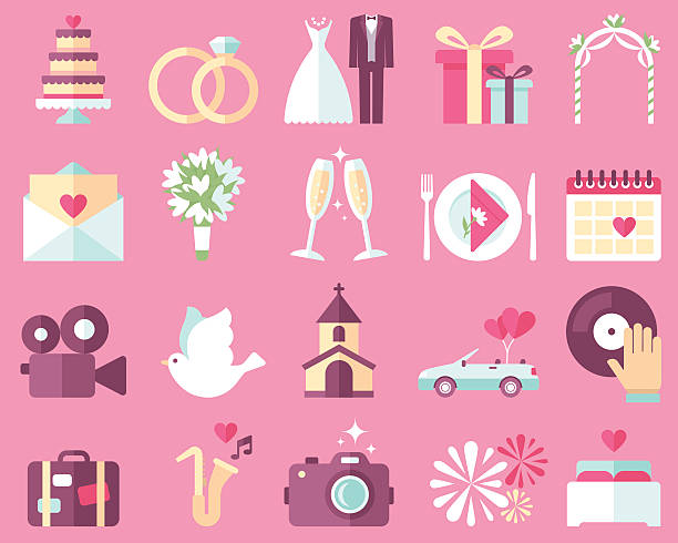 wedding icons - marriage stock illustrations