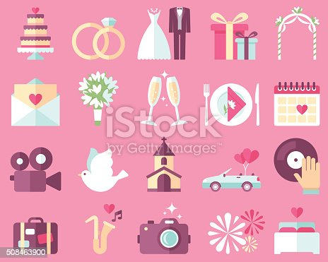Wedding Icons Stock Vector Art & More Images of Arch - Architectural Feature 508463900