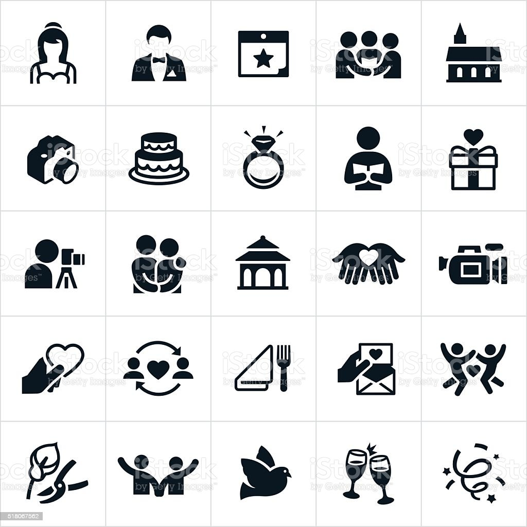 Wedding Icons Stock Vector Art More Images Of Arm Around 518067562